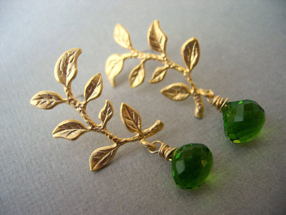 Gold Branch and Peridot Green Quartz Earrings