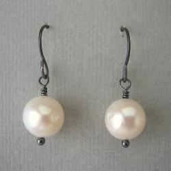Pearl Earrings, Oxidized Silver Earrings