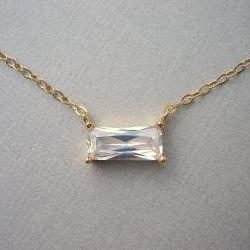 Cubic Zirconia Baguette Cut Gold Necklace