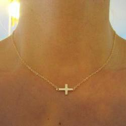 Small Sideways Cross Necklace, Gold Cross Necklace