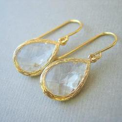 Clear Glass Gold Trimmed Teardrop Earrings