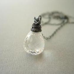 Necklace, Oxidized Silver, Rock Crystal Quartz, Clear