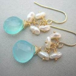 Aqua Chalcedony and Keshi Pearl Earrings