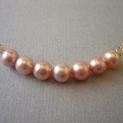 Row of Pink Freshwater Pearls Necklace