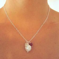 Sterling Silver Lotus, Pearl, and Agate Charm Necklace