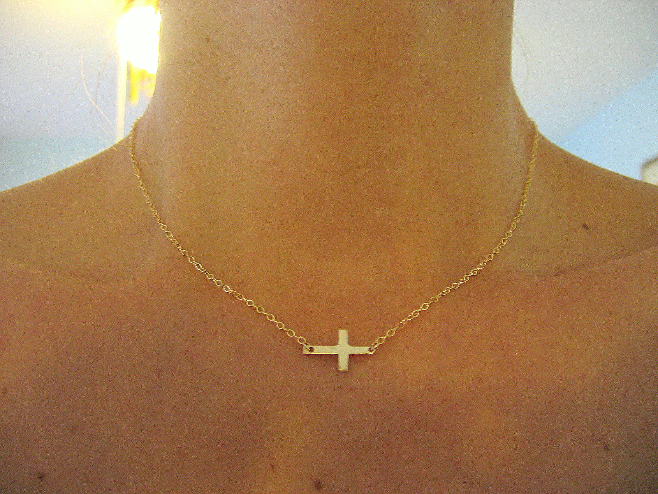 Small sideways cross necklace gold cross necklace on luulla